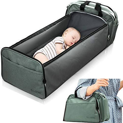 Scuddles 3-1 Portable Bassinet for Baby - Foldable Baby Bed - Travel Bassinet Functions As Diaper Bag And Changing Station - Easy...