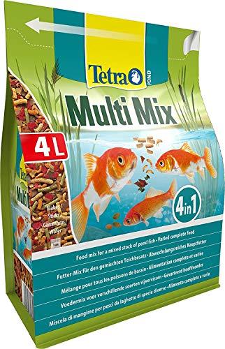 Tetra Pond Multi Mix 4 L - Comida para peces que consiste en cuatro tipos diferentes de comida (Comida en escamas, Palitos de comida, Gammarus, Wafer)