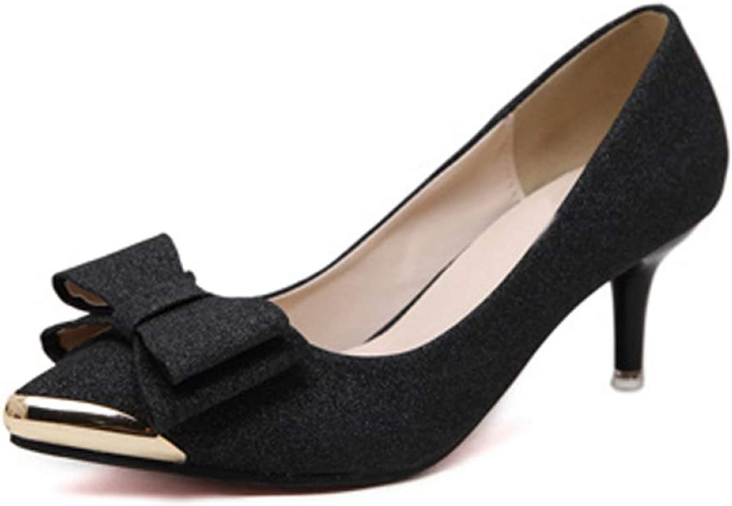 Women Pumps High Heels Sexy Sequins shoes Lady Dress Pump Bowknot Pointed Stiletto