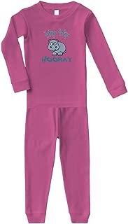 Baby Hippo Hippopotamus Hip Hip Hooray White Cotton Long Sleeve Crewneck Unisex Infant Sleepwear Pajama 2 Pcs Set Top and Pant - Hot Pink, 5/6T