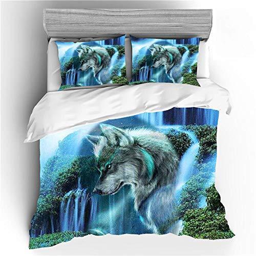 Reversible Juego de ropa de cama de algodón,Funda nórdica Wolf, juego de cama con estampado de lobo 3D, adecuado para niños, adolescentes, adultos, colcha de microfibra suave-Figura 4_150 * 200