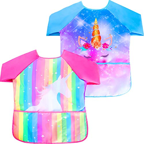 Sylfairy Pack of 2 Kids Art Smocks Waterproof Children Art Smock Kids Art Aprons with 3 Roomy Pockets Painting Supplies for Age 2-7 Years(Rose Red and Blue)