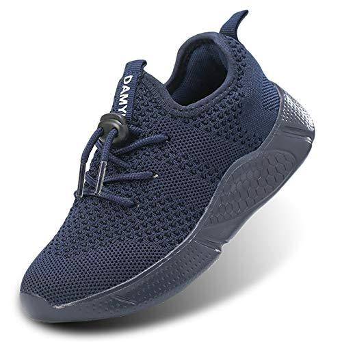 Damyuan Jungen Sneakers Laufschuhe Turnschuhe Sportschuhe Straßenlaufschuhe Atmungsaktiv Gymnastikschuhe Wanderschuhe Freizeit Outdoor Joggingschuhe Trekkingschuhe Fitnessschuhe Blau 33 EU