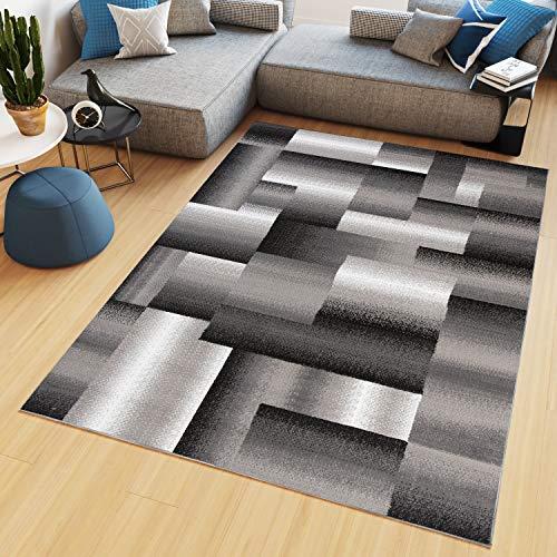TAPISO Maya - Alfombra Moderna para salón, Gris y Beige, geométrica a Cuadros de Pelo Corto, 80 x 150 cm