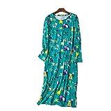 Nightwear Damen Nachthemd lang Schlafhemd Langarm Damen Pyjama Damen langes Sleepshirt Damen Schlafshirt aus Baumwolle