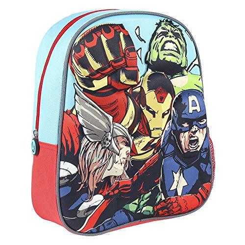 Cerdá - Mochila Infantil 3D Avengers con Detalles Metalizados, Vengadores 3D - Licencia Oficial de Marvel Studios®