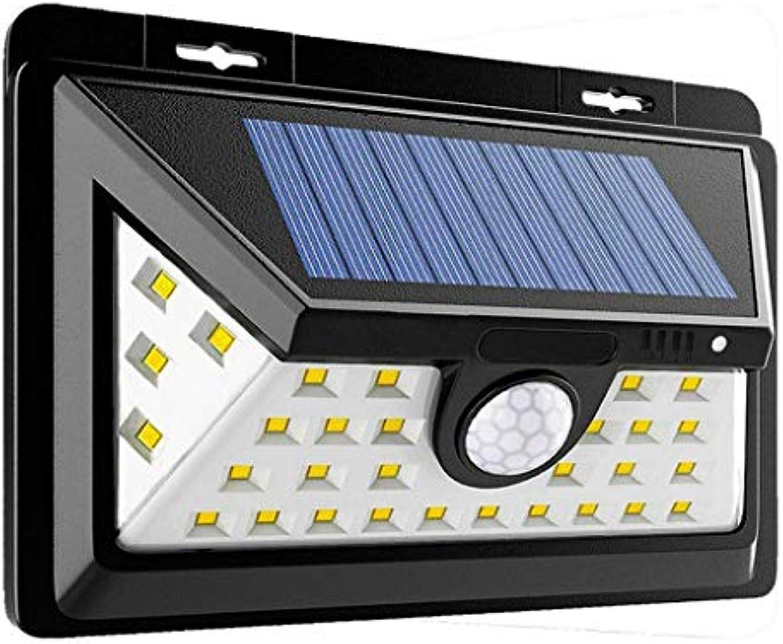 Wasserdichte Wandlampe für den Auenbereich ZS, Solar Bewegungssensorlicht, Kabellos Wasserdicht Auenwandleuchte Solarbetriebene Sicherheitsleuchten 34 LED Super Hell 3 Intelligente Modi zum Garten Z