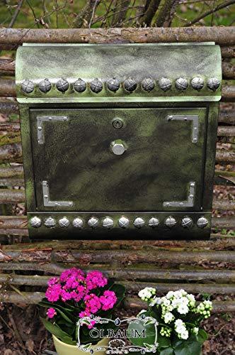 ÖLBAUM Briefkasten Antikoptik, XXL, Runddach hegr/at hellgrün moosgrün grün anthrazit schwarz mit Farbe-silberfarbenen Schrauben Zeitungsfach Zeitungsrolle Postkasten Shabby Vintage