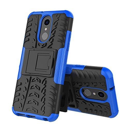 XINYUNEW Funda LG Q7, 360 Grados Protective+Pantalla de Vidrio Templado Caso Carcasa Case Cover Skin móviles telefonía Carcasas Fundas para LG Q7-Azul