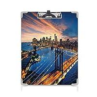 キングジム:クリップボード カラー A4判タテ型 風景 会議資料など挟 マンハッタンとブルックリン橋に沈むアメリカの都市景観