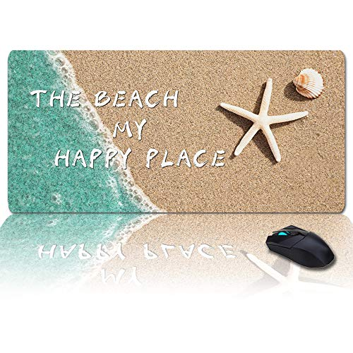 Large Mouse Pad Desk Mat 35x15 in Oversized RGB Soft Gaming Mousepad, Custom Summer The Beach is My Happy Place XXL Cool Keyboard Pad for Gamer, Office & Home
