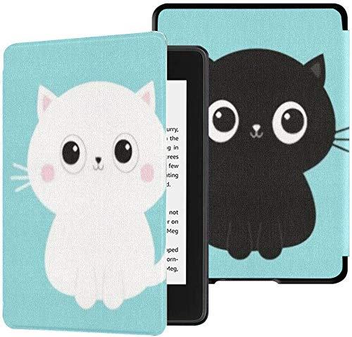 Funda de Tela Impermeable para Kindle Paperwhite (décima generación, versión 2018), Funda para Tableta con Icono de Gatito Gatito Blanco y Negro