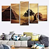 5 paneles pared 5 piezas cara egipcia León pirámide pintura lienzo atardecer desierto póster impresión en HD artista de pared decoración de estar sala de estar