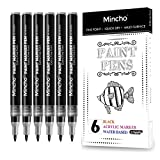 Black Marker Paint Pens - 6 Pack Acrylic Black Permanent Marker, 0.7mm Extra Fine Tip Paint Pen for Rock Painting , Drawing, Art projects , Stone, Ceramic, Glass, Wood, Plastic, Metal, Canvas DIY Crafts