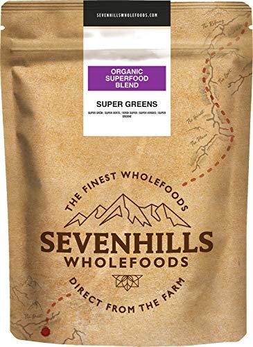 Sevenhills Wholefoods Organic Green Superfood Powder Blend 400g, with Spirulina, Chlorella, Wheatgrass & Barley Grass