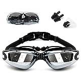 shenyu Swimming Goggles,Swim Goggles for Men Women, No Leaking Anti-Fog,Free Goggle Case, Nose and Ear Plugs (Black)