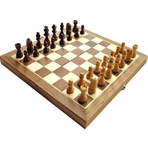 Ajedrez Ajedrez, Juego de ajedrez de Madera Plegable, Almacenamiento para Piezas, Juego de ajedrez de Viaje Artesanal, elección Perfecta para cumpleaños ajedrez magnetico (tamaño : 29cm)
