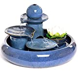 YDYG Handmade Ceramic Indoor Water Fountain,Small Relaxation 3 Step Waterfall Feature Ceramic Fishbowl with Water Feature,Desktop Small Fountain Goldfishbowl Home Living Room Office Decoration,Blue,S
