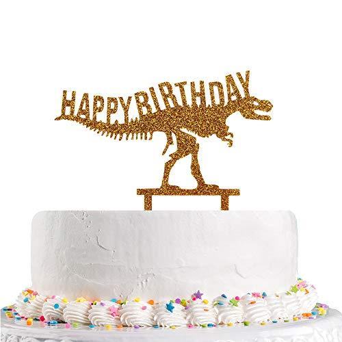 Decoración dorada para tarta de cumpleaños con dinosaurio, Happy 1st 2nd 3rd 4th 5th 10th Suministros de decoración de fiesta de cumpleaños para niños (acrílico)