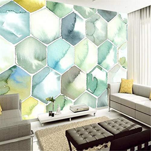 3D grote gebruikergedefinieerd wallpaper Maak elke mogelijke grootte 3D wandbehang Moderne mode kleur geometrisch patroon Honeycombshape 3Dperspective behang, 400 cm * 280 cm bijzonder aan
