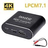 Iseebiz HDMI音声分離器 4K・HDR対応 7.1ch対応 DTS&Dolby5.1/LPCM7.1対応 ARC機能 USB給電式 日本語取説付き 3.5mm―2RCA変換ケーブル付
