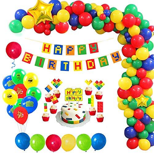 MMTX Bausteine Geburtstags Deko Junge, Happy Birthday Girlande Luftballons Dekoration Set mit Kuchenaufsätze für Kindergeburtstag 1. 2. 3. 5. 16. 18