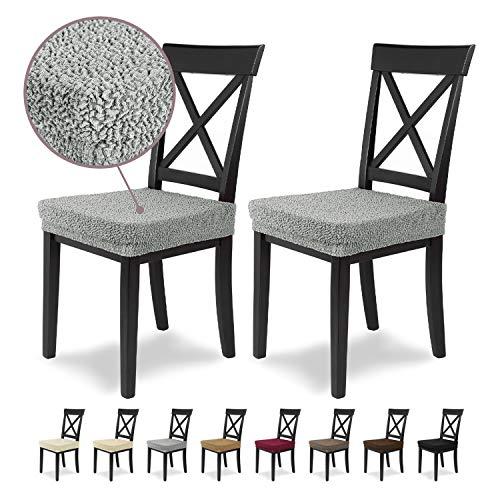 Housses de siège SCHEFFLER-Home Jacquard Lea 2 Set, élastiques Couverture Spandex, Couvre de Chaise siège, Gris Argente
