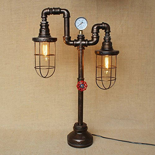 TOYM UK Nordic American Industrial Style Retro Old Water Pipe Iron Bar Restaurant Lampes de table décoratives