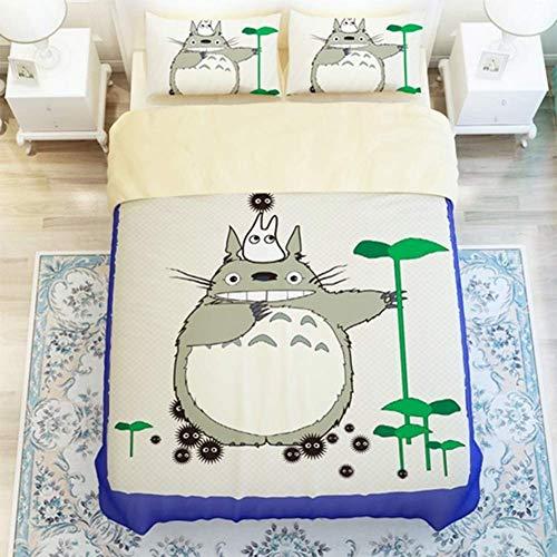 Funda De Edredón De Poliéster Impresión De Anime 3D Totoro Juego De Ropa De Cama 3 PCS Fundas De Edredón Nórdico/2 Fundas De Almohada,FUll203*228cm