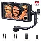 Caméra Moniteur - ESDDI Écran 5 Pouces HD IPS Support entrée 4K HDMI 1920 x 1080 Batterie Li-ION Rechargeable, Chargeur de Batterie USB Inclus, Compatible avec Les pour Cameras Sony, Canon et Nikon