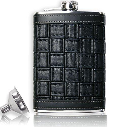 Outdoor Saxx® - Edelstahl Leder-Flachmann im Leder-Design Braided schwarz, hochwertige Taschen-Flasche, Schnaps-Flasche, Schraub-Verschluss mit Sicherung, 260ml mit Einfüll-Trichter, in Geschenk-Box