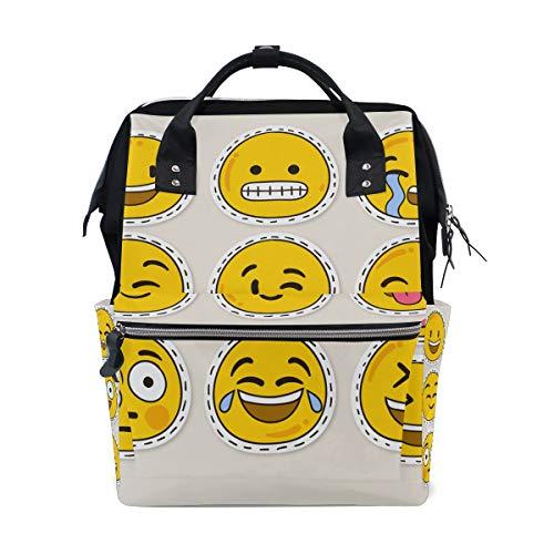 Alinlo Wickeltasche mit lustigem Emoticon-Emoji, mit großer Kapazität, Multifunktions-Kinderwagen-Gurte, Mumien-Tasche, für Reisen und Babypflege