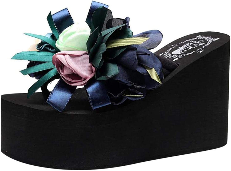 Womens Chunky High Platform Wedge Flip Flops Lightweight Thong Sandals Anti-Slip Sandals Slippers with Flower Decor