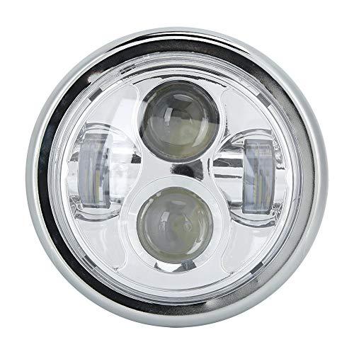 Qiilu motorfiets koplamp, 100% gloednieuwe universele 12V motorfiets retro retro koplamp metalen reparatie vervangende koplampen(Verzilveren)