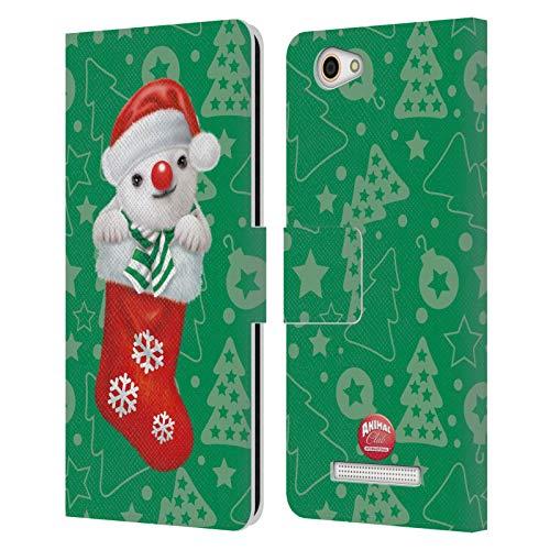 Head Hülle Designs Offizielle Animal Club International Eisbaer Weihnachts Socken Leder Brieftaschen Handyhülle Hülle Huelle kompatibel mit Wileyfox Spark X