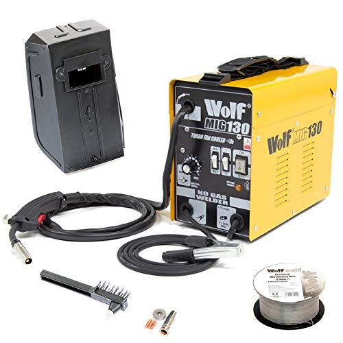 Wolf MIG130 Portable Turbo Mig Welder 230v DC No Gas Welding - Incs Mini Spool Flux Cored Mig Wire,...