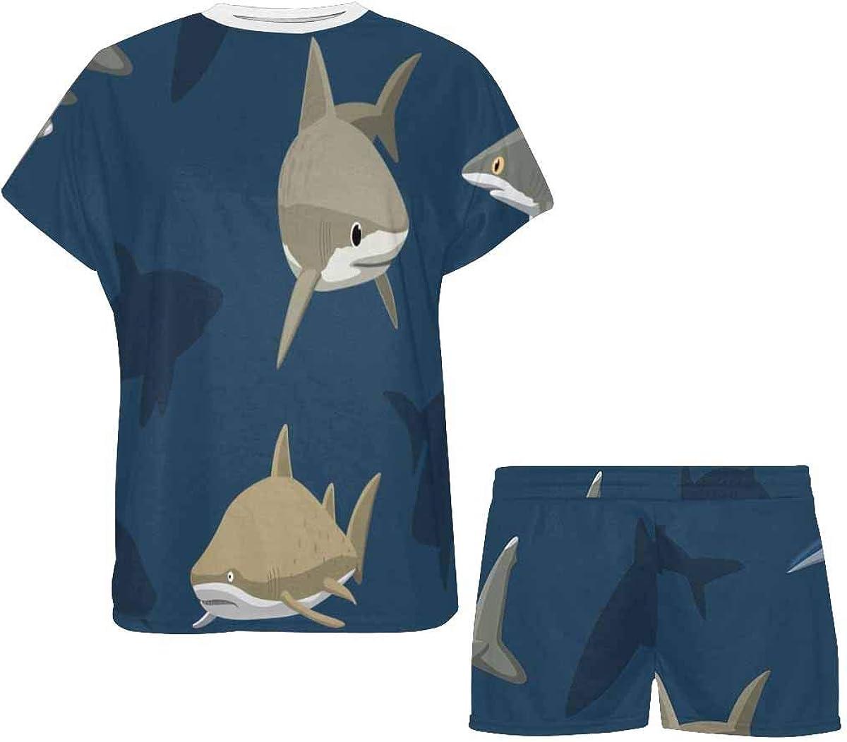 InterestPrint Sharks Ocean Animal Women's Pajamas Short Sets Round Neck Short Sleeve Sleepwear