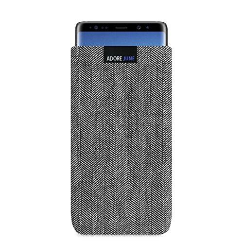 Adore June Business Tasche für Samsung Galaxy Note 8 Handytasche aus charakteristischem Fischgrat Stoff - Grau/Schwarz | Schutztasche Zubehör mit Bildschirm Reinigungs-Effekt | Made in Europe