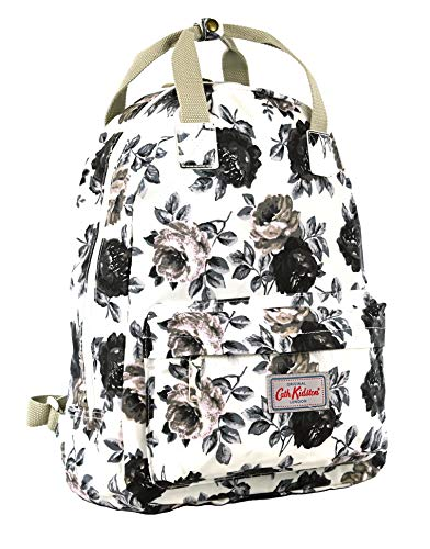 Cath Kidston Backpack Rucksack Oakworth Bloom in Warm Cream, Black and Grey Oilcloth