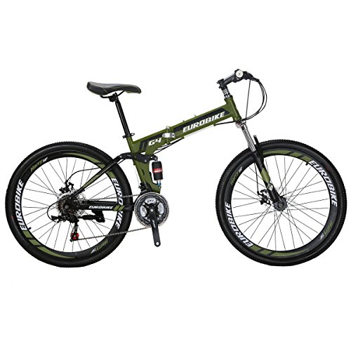 Mountain Bike TSMG4 21 Speed 26 Inches Wheels Dual Suspension Folding Bicycle ArmyGreen