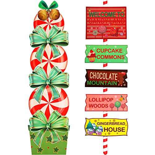 Outus 13 Pieces Christmas Candy Party Signs Candy Theme Welcome Signs Directional Signs Street Signs Christmas Photo Prop Decoration Yard Signs for Home Lawn Themed Party