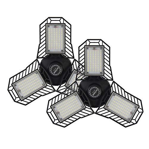 NATHOME garage lighting,216 LEDs 45W(100W Equivalent) Garage Light/daylight 5000K AC110V/Aluminum Cooling system/deformable three leaf garage light,indoor use for Shop Lights (Eqv 100W 2-Pack)