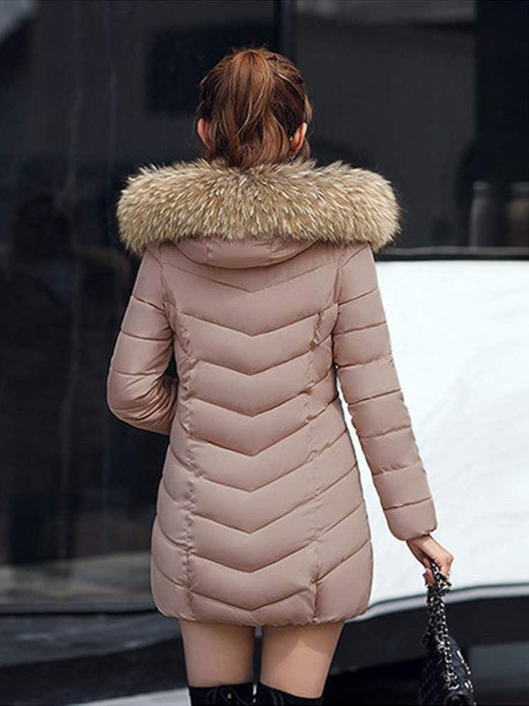 ORANDESIGNE Damen Winterjacke Wintermantel Lange Daunenjacke Jacke Outwear Frauen Winter Warm Dicker Daunenmantel Slim Steppmantel Parka Fellkapuze A Khaki