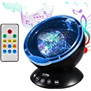 Ocean Wave Projector Night Light, Latest Upgraded Remote Control Sleep Light Lamp with Music Player, 12 LED and 7 Color, Auto Shutdown for Bathroom, Living Room, Baby Room, Parties, Support TF Card