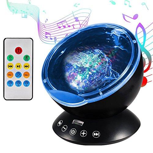 Projektor Lampe Ozeanwellen Projektor Baby LED Projektor mit Fernbedienung und Timerfunktion 7 Farbkombination, 4 Natur Sound Simulation zum Weihnachtsdekoration Party Deko und Geburtstagsgeschenk