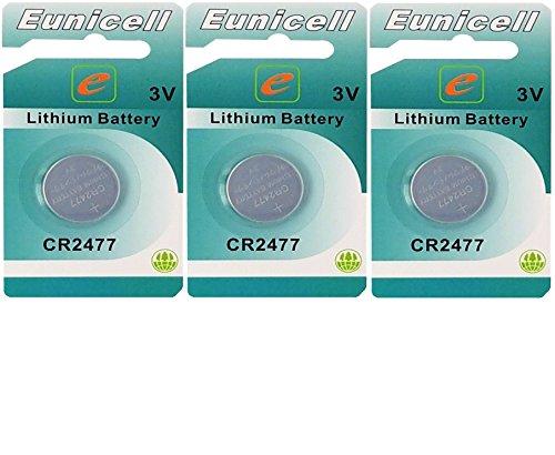 Eunicell 3 x CR2477 3V Lithium Knopfzelle 1050 mAh (3 x EINZELBLISTER) EINWEG Markenware