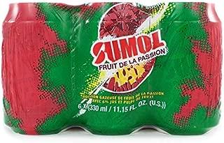 SUMOL Fruit de La Passion Can Soda 6 Pack / Passion Fruit Soft Drink Can 6 Pack.