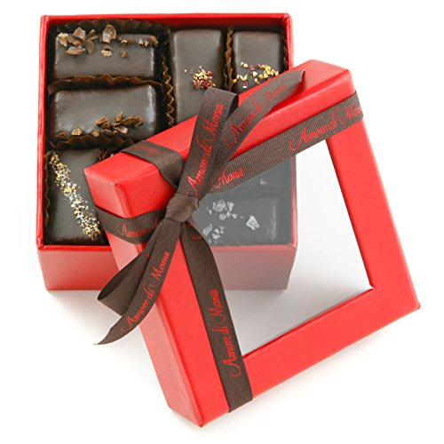 Fine, Vegan Chocolate Gift: Amore di Mona Red 16 Piece Assorted Mignardise: Made Pure & Simply with Premium Ingredients That Are All Natural, Non-GMO, Kosher, Gluten, Soy, Milk, Sesame & Nut Free