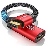 JSAUX Adaptador DisplayPort a HDMI (4K@60Hz,2K@144Hz) Durable Adaptador DP a HDMI Convertidor Nylon Trenzado con Contactos chapados en Oro para HP, HDTV, ThinkPad, Projektor-Rojo