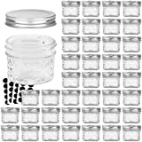VERONES Mason Jars Canning Jars, 4 OZ Jelly Jars With One Piece Regular Lids, Ideal for Jam, Honey, Wedding Shower Favors, Baby Foods, DIY Magnetic Spice Jars, 40 PACK